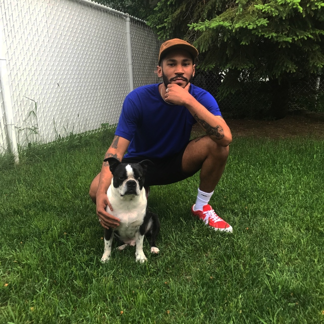 Kaytranada with his dog in Saint-Hubert, Quebec in June 2018