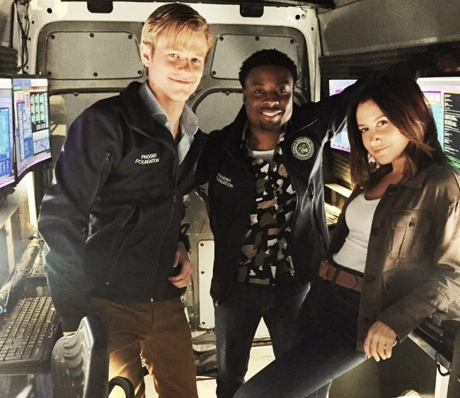 Lucas Till (Left) with Justin Hires and Ashley Tisdale (Right) in November 2017