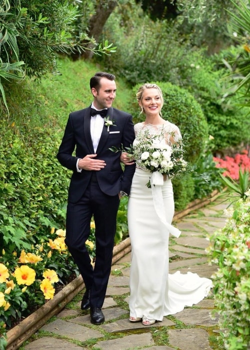 Matthew Lewis with Angela Jones on their wedding day