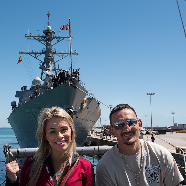 "Max ""Blessed"" Holloway and Paige VanZant during VCJCS USO Spring Tour 2018"