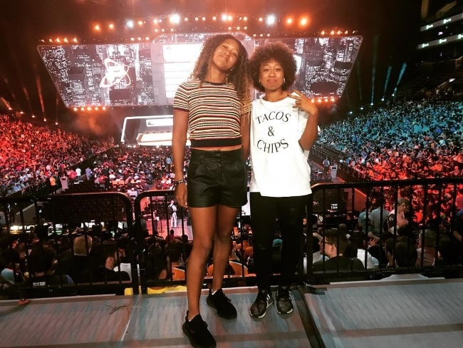 Naomi Osaka (Left) with younger sister Mari Osaka at Barclays Center in July 2018