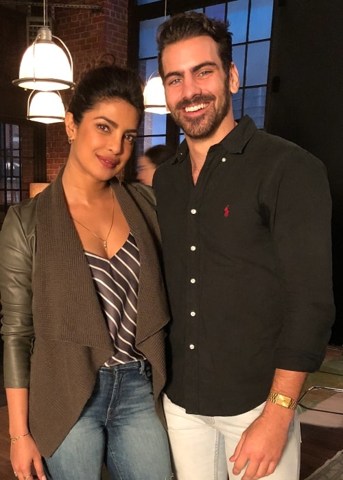 Nyle DiMarco with Priyanka Chopra in New York City, New York in January 2018