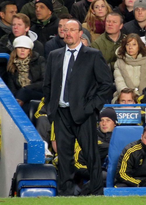 Rafael Benitez watches Chelsea vs Nordsjaelland in December 2012