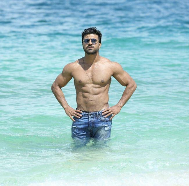 Ram Charan shirtless for the 2016 film Dhruva