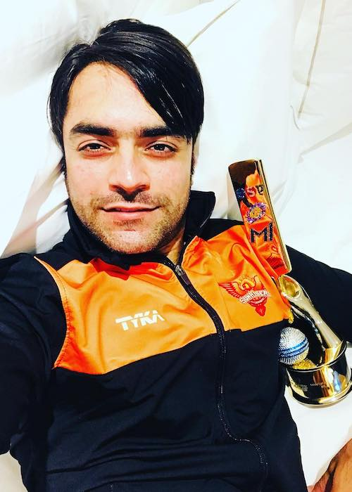 Rashid Khan after winning an IPL match with his team Sunrisers Hyderabad in April 2018