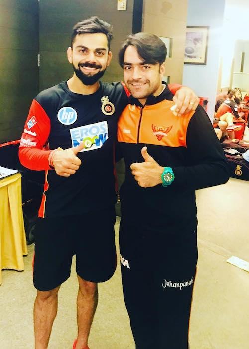 Rashid Khan with Virat Kohli as seen in May 2018