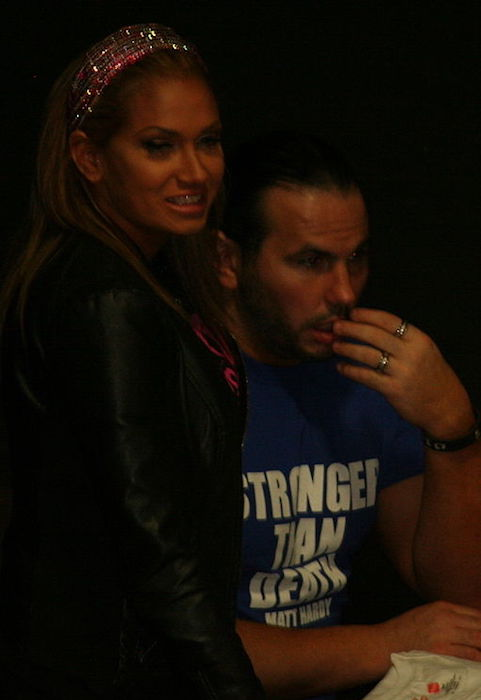 Rebecca Reyes and Matt Hardy as seen in February 2014 at a PWX show