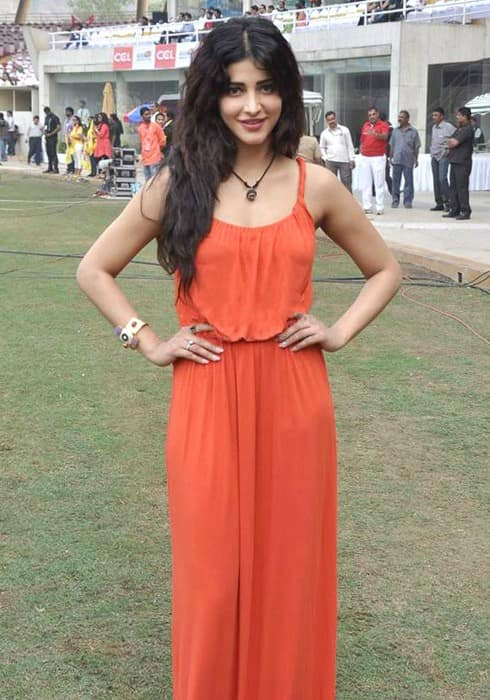 Shruti Haasan at Celebrity Cricket League in February 2014