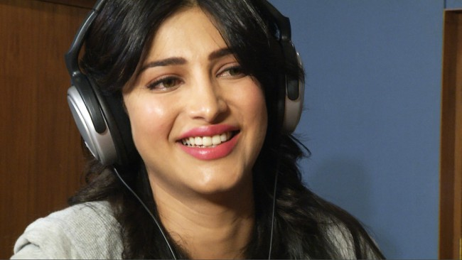 Shruti Haasan during the TeachAIDS Recording Session in July 2013