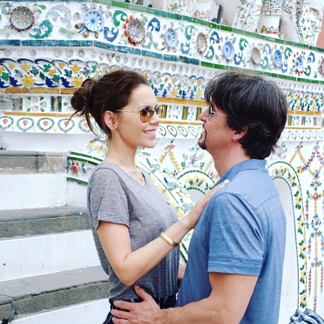 Tati Westbrook with James Westbrook at Wat Arun in July 2018