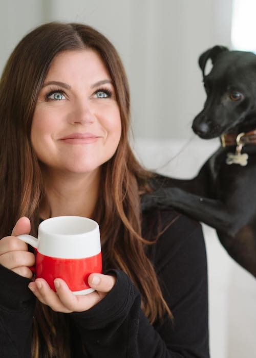 Tiffani Thiessen with her dog Bo in September 2017