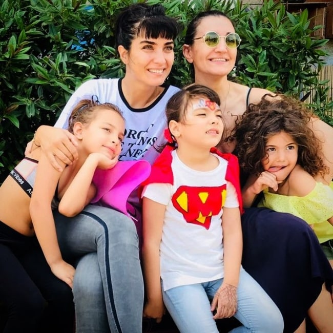 Tuba Buyukustun with her family in June 2018