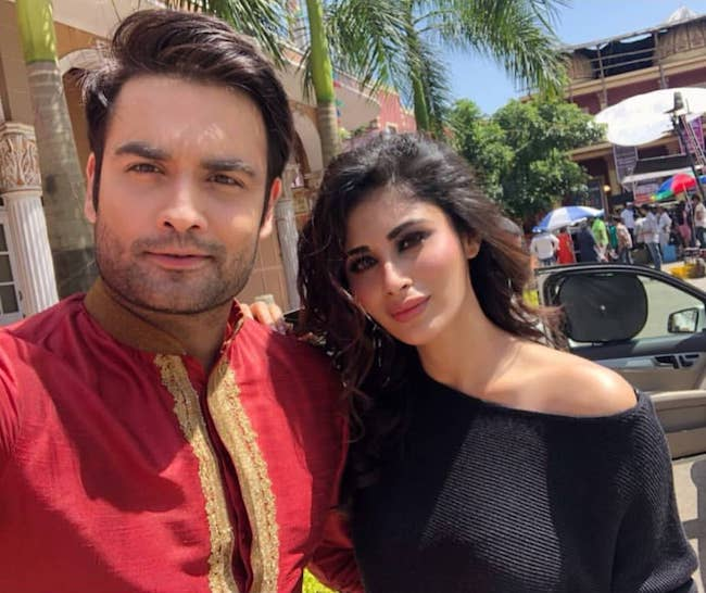 Vivian Dsena and Mouni Roy on the shoot