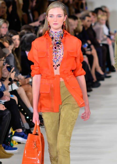 Vlada Roslyakova walking the Ralph Lauren Spring Summer 2015 fashion show