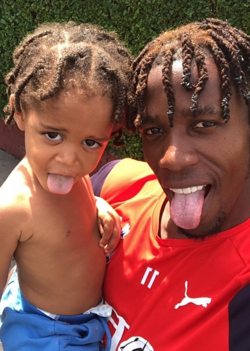 Wilfried Zaha in a selfie with his son in August 2018