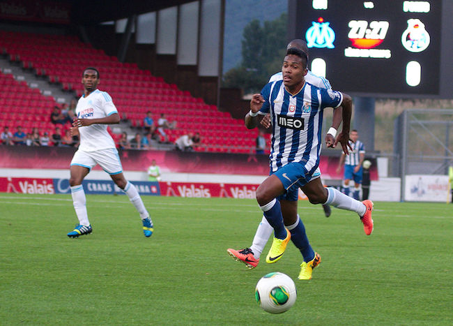 Alex Sandro while playing during Valais Cup 2013