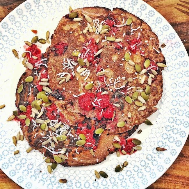 Ali Oetjen's cooked raspberry protein pancake in June 2018