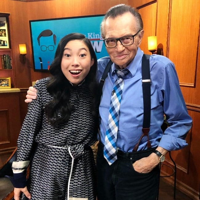 Awkwafina with Larry King in August 2018