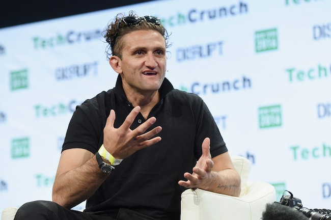 Casey Neistat talking onstage during TechCrunch Disrupt NY 2016