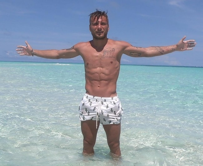 Ciro Immobile at Mahibadhoo, Maale, Maldives in June 2018