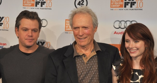 Clint Eastwood with Matt Damon (Left) and Bryce Dallas Howard (Right) at the New York Film Festival 2010