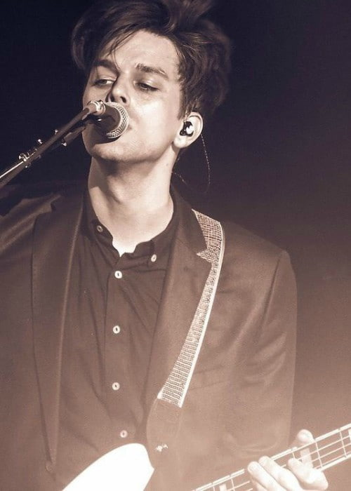 Dallon Weekes during a performance in January 2018