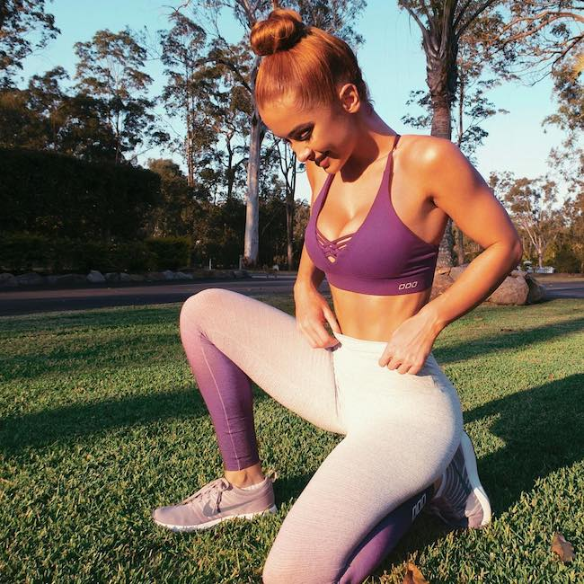 Ellie Gonsalves wearing Lorna Jane workout gear in September 2018