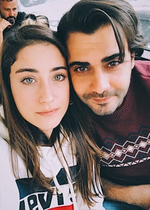 Hazal Kaya with Melih Selcuk in October 2017