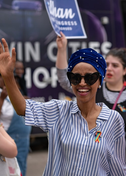 Ilhan Omar at a Pride Parade in June 2018