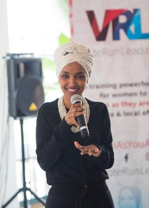 Ilhan Omar speaking at a VoteRunLead training in May 2018