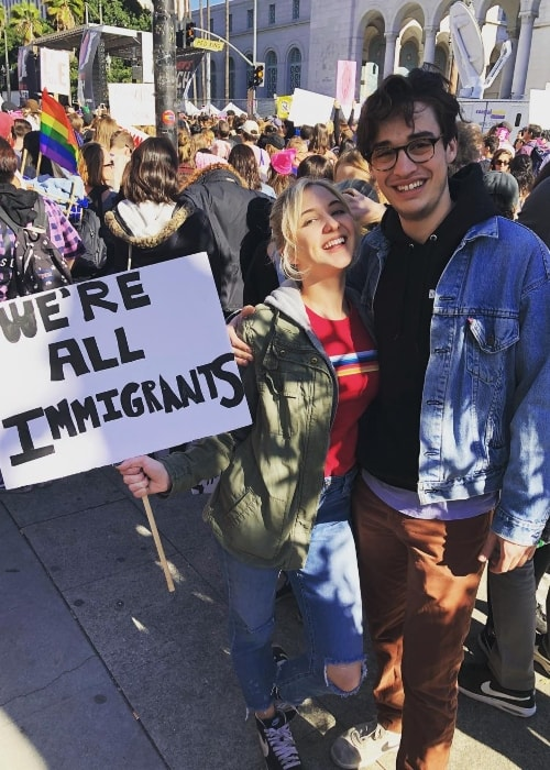 Joey Bragg at a Women's March with Audrey Whitby in January 2018