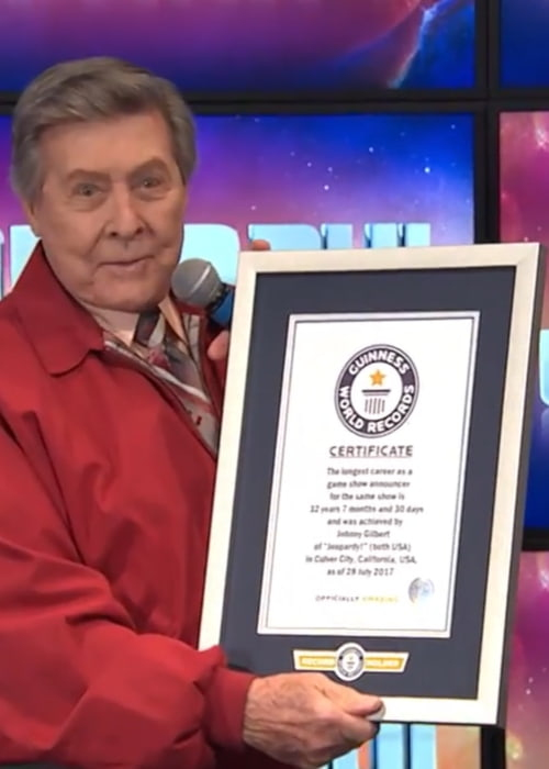 Johnny Gilbert being honored by the Guinness Book of World Records for having the longest career as a game show announcer in 2017