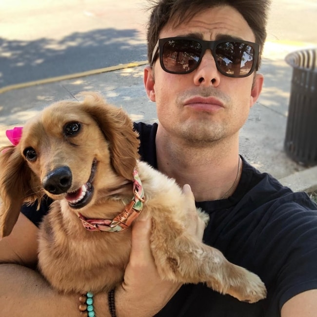 Jonathan Bennett taking a selfie on National Dog Day in Oklahoma in August 2018