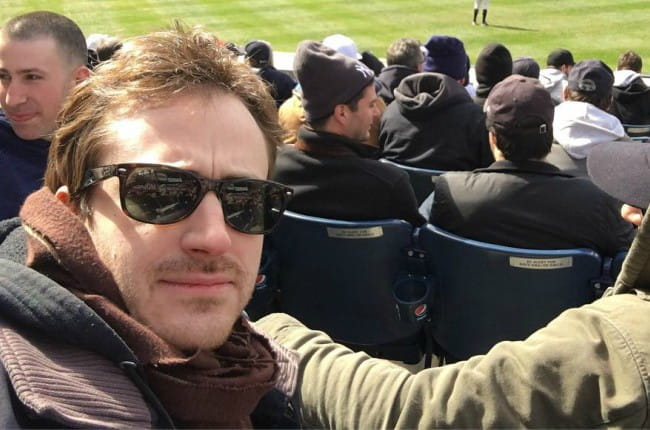 Joseph Mazzello at the Yankee Stadium in April 2018