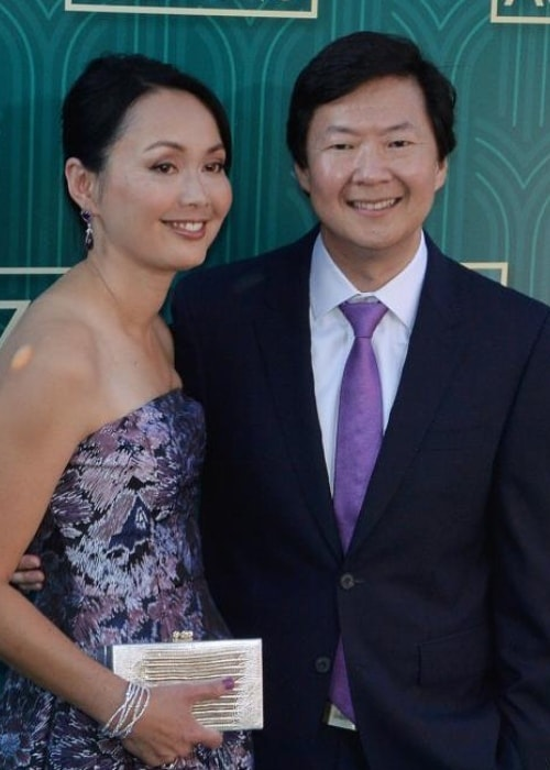 Ken Jeong with Tran Ho at the premiere of Crazy Rich Asians in 2018