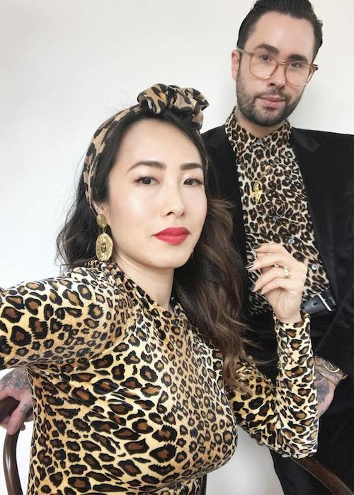 Melissa Leong with friend wearing leopard print dresses in September 2018