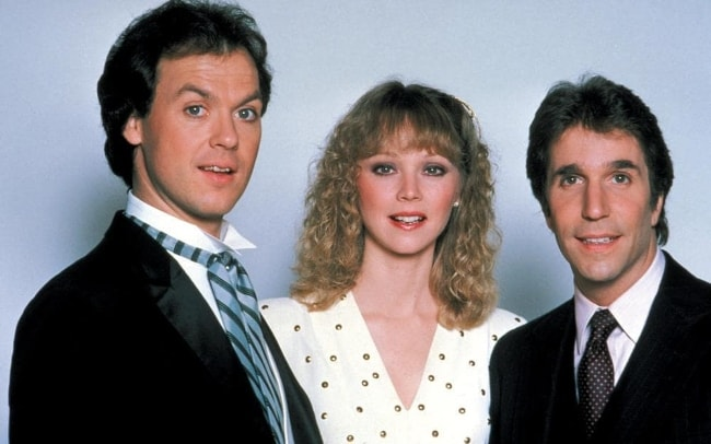 Michael Keaton (Left) with Shelley Long and Henry Winkler (Right)