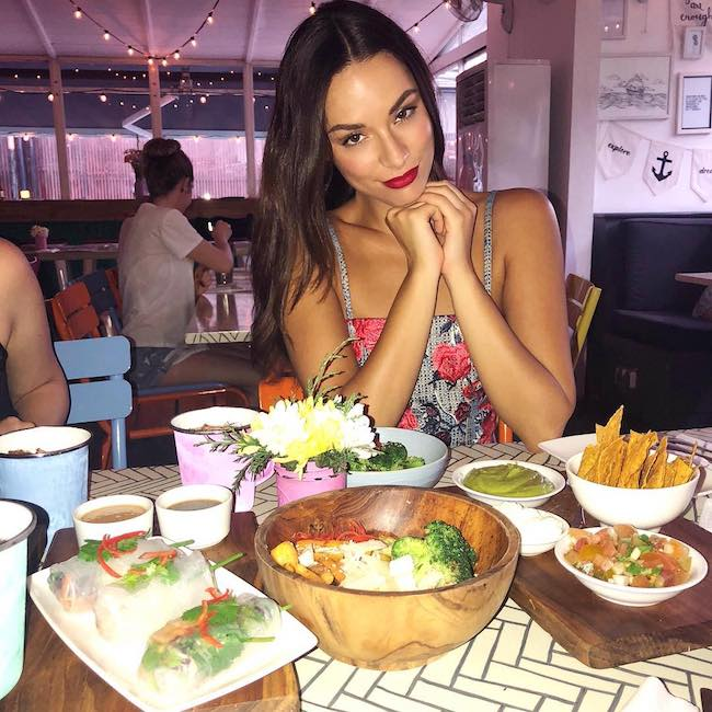 Monika Radulovic while having a meal at Sea Circus Bali in December 2017