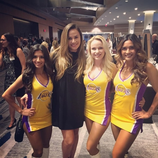 Moon Bloodgood with the Laker Girls in October 2018
