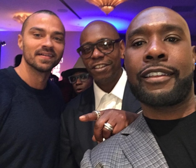 Morris Chestnut in a selfie with Jesse Williams (Right) and Dave Chappelle (Center) in December 2017