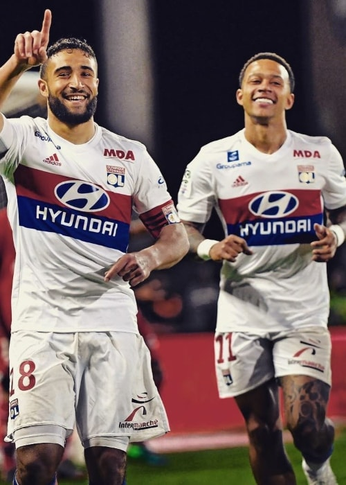 Nabil Fekir (Left) with Memphis Depay in April 2018