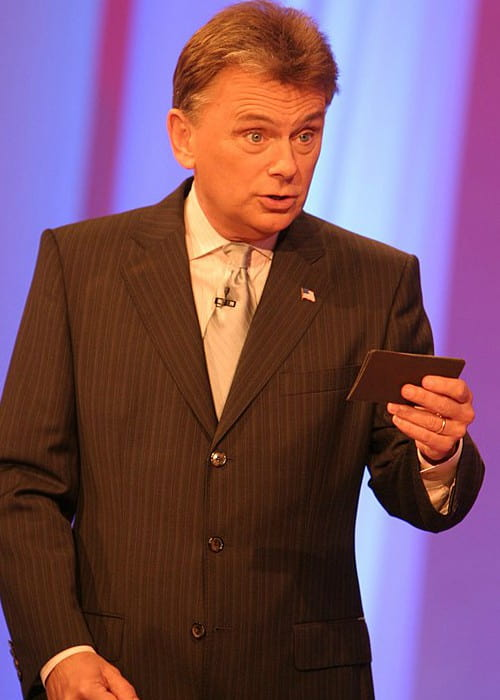 Pat Sajak during a taping of the game show Wheel of Fortune in February 2006