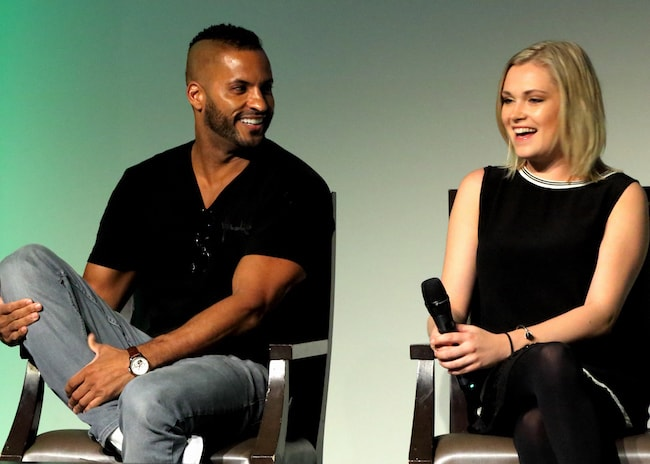Ricky Whittle and Eliza Taylor Cotter during a conversation in 2017 at We Are Grounders 2 event