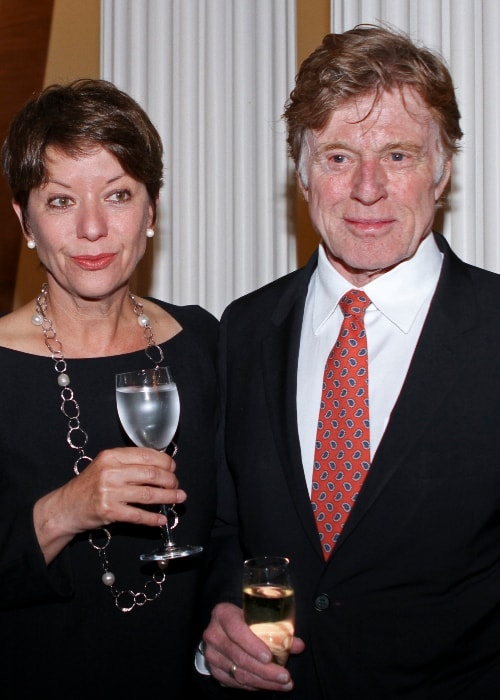 Robert Redford with Mrs Sibylle Szaggers Redford in April 2012