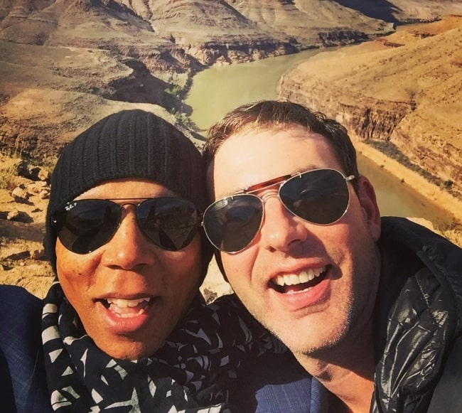 RuPaul (Left) in a selfie with Georges LeBar at Grand Canyon in 2016