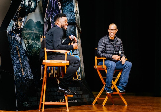 Ryan Coogler (Left) and executive producer Nate Moore talking to audience during Q&A session in February 2018