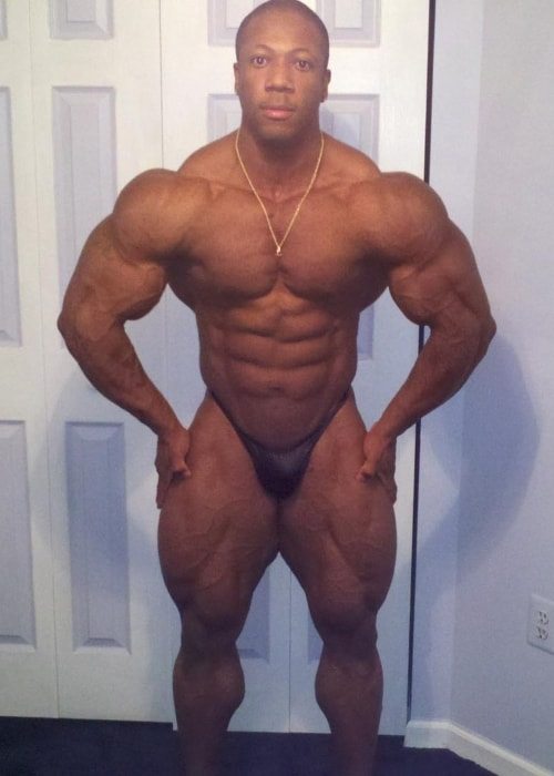 Shawn Rhoden showing his spectacular build in a picture in July 2012
