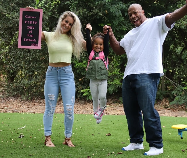 Shawn Rhoden with Michelle Sugar celebrating their daughter's first day of Pre school in August 2018