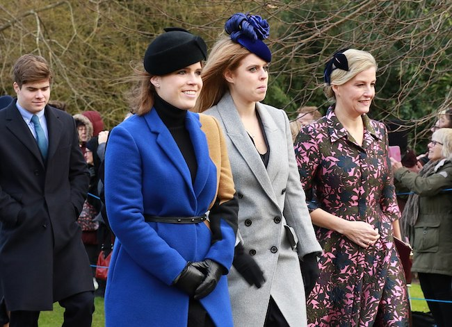 The Royal Family on Christmas Day 2017 (Princess Eugenie in blue coat)