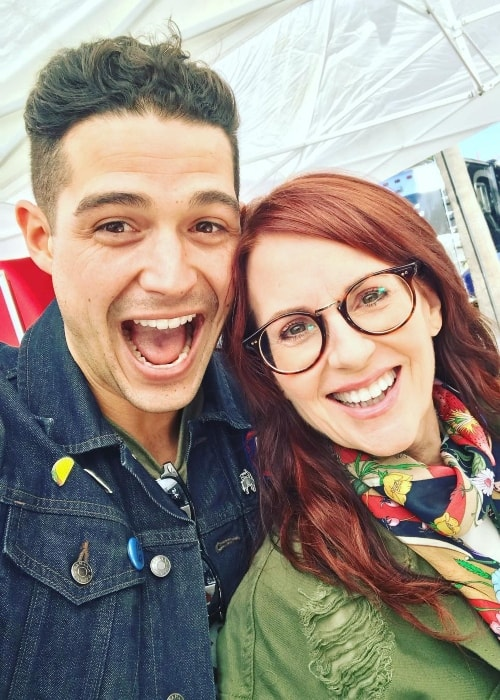 Wells Adams in a selfie with Megan Mullally
